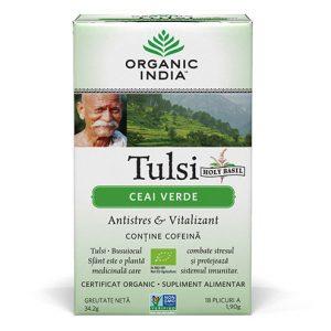 Tulsi – Ceai Verde, 18 plicuri, Organic India