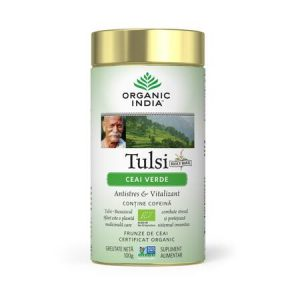 Ceai Tulsi Ceai Verde 100g in a Tin Organic India