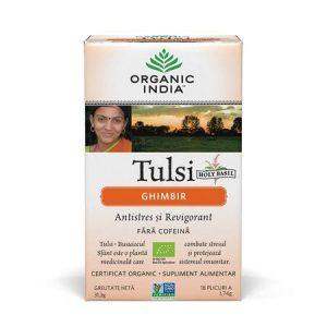 Tulsi Ceai de Ghimbir, 18 plicuri, Organic India