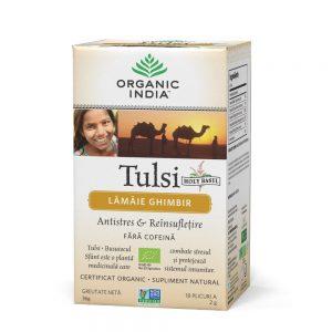 Ceai Tulsi Lamaie Ghimbir 18 Organic India