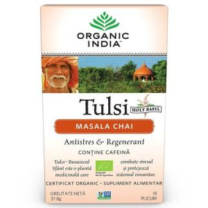 Tulsi Masala Chai Relaxant și Regenerant, 18 plicuri, Organic India