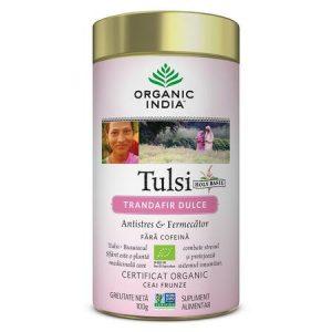 Ceai Tulsi Trandafir Dulce 100g in a Tin  Organic India