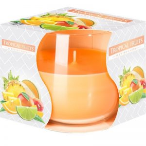 Lumanare parfumata in pahar imprimat Fructe Tropicale