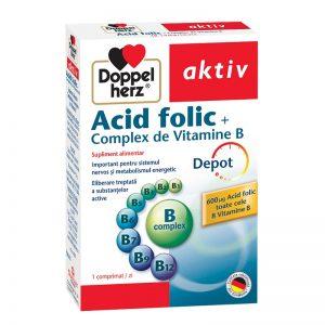Acid Folic Complex de Vitamina B, 30 comprimate, Doppelherz