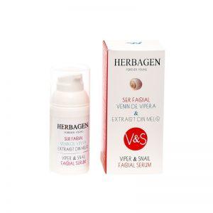 Ser facial cu venin de viperă și extract de melc, 30 gr, Herbagen