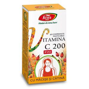 Vitamina C 200 mg cu Măceșe și Cătină, F152, 60 comprimate masticabile, Fares