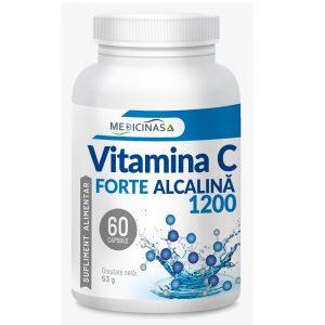 Vitamina C Forte alcalina 1200 Medicinas, 60 capsule vegetale, Laboratoarele Medica