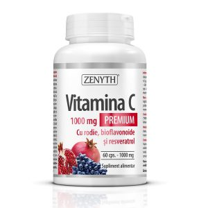 Vitamina C Premium 1000 mg cu rodie, bioflavonoide si resveratrol, 60 capsule, Zenyth