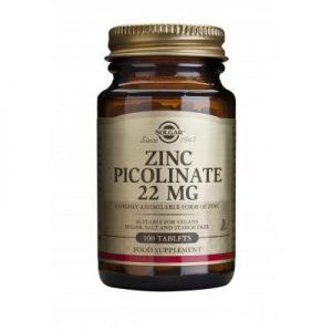 Picolinat de zinc 22 mg, 100 tablete, Solgar