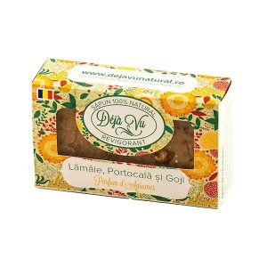Sapun natural cu Lamaie, Portocala si Goji, 90 g, Deja Vu